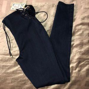 Pants - Lolo Tie-Up Highwaist Dark Finish Jeans